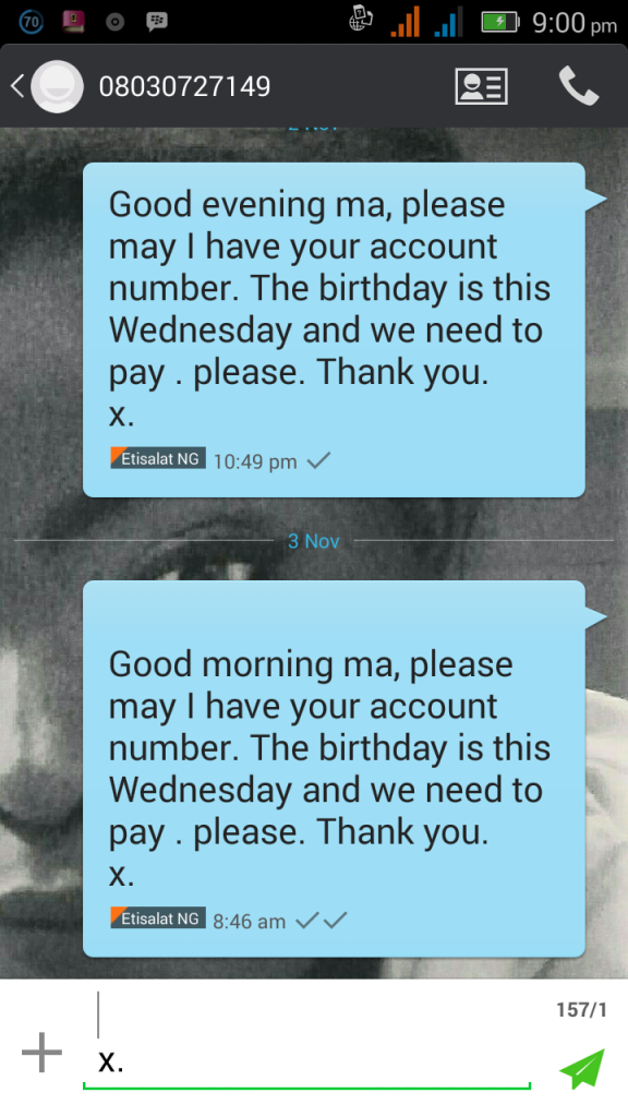 The text message asking for account number.