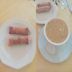 Spring rolls and Cream and Sweet corn soup
