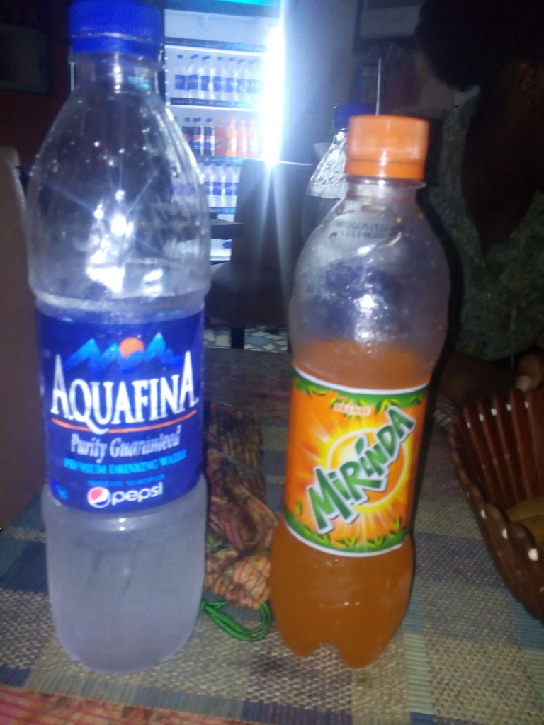 Bottled water and Mirinda