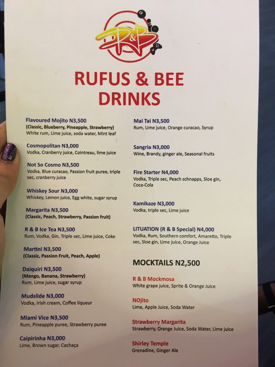 Rufus and Bee Lekki Menu